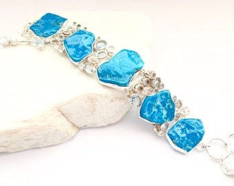 Turquoise and Topaz Bracelet Sterling Silver Adjustable