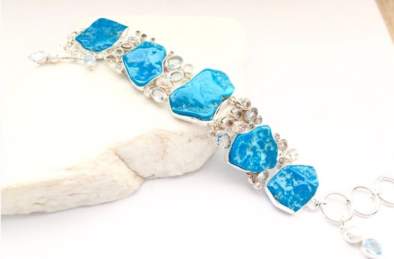 Sale Turquoise and Topaz Bracelet Sterling Silver Adjustable