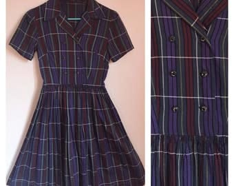 Vintage 1950's Dark Purple Red Pin Striped Pinup Rockabilly Mad Men Short Sleeve Collared Frock Size Extra Small XS