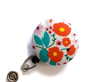 Floral Badge Reel  Retractable Badge Holder Name Badge Holder ID Badge Holder Nurse Badge Reel Key Card Holder Badge Clip White Orange Jade