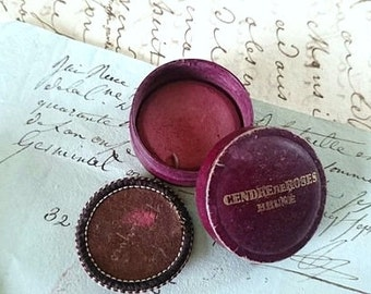 Antique French Mademoiselles 1930s Blush Makeup powder in original pot Blush Makeup powder Cosmetics Photography Prop