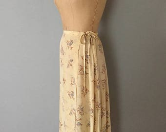 25% OFF SALE ... 1990s sand yellow silk wrap skirt | strappy bow silk floral wrap maxi skirt