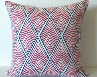 Rhombi Form Fuschia Blue geometric decorative pillow cover