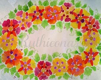 Colorful Watercolor Wreath Print