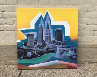 Downtown Cleveland Landscape Painting No. 31 on Canvas 24 x 24