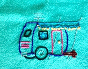 Turquoise Airstream Hand Embroidered Tea Towels, With Cotton Trim, Set of Two
