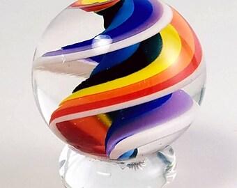 Handblown Glass Marble with Rainbow Twist