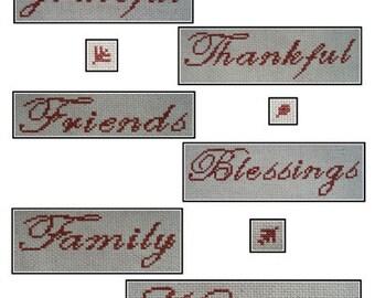 PDF E pattern emailed Thanksgiving Autumn Cross Stitch Pattern Sampler 120