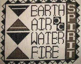 PDF E pattern emailed Wiccan Elements Wicca Witch Earth Air Fire Water Cross Stitch Pattern Sampler 87