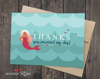 Mermaid Thank You Cards - Set of 10 folded greeting cards and envelopes