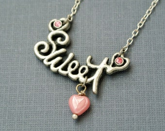 Sweet Necklace,Valentines Jewelry, Valentine's Necklace,Gift for Her,Love Necklace,Sweets Necklace,Pink Necklace