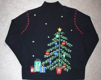 50% OFF SALE Ugly CHRisTMAS Sweater . Vintage Tacky Holiday Pullover Turtleneck Black Sweater . Christmas Tree Presents Bells . Sz Small 6-8
