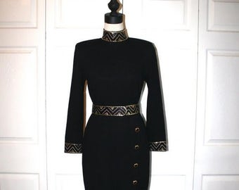 50% OFF SALE St. JOHN Black Knit Dress . Vintage 1980s 90s Classy Designer Formal Party Dress . Gold Black Beaded & Belt . Size Small Medium
