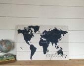 Explore World Map - Wooden Nursery Map - Travel Themed Decor - Boys Room Decor - Travel Map - Nursery Wall Art - Rustic World Map -
