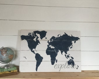 Explore World Map - Wooden Nursery Map - Travel Themed Decor - Boys Room Decor - Travel Map - Nursery Wall Art - Rustic World Map -