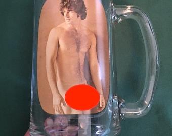 Vintage Male Hunk Stripper Barware Drinking Glass Mug Risque Nude Man Naked Man 1970s Retro Bachelorette Party