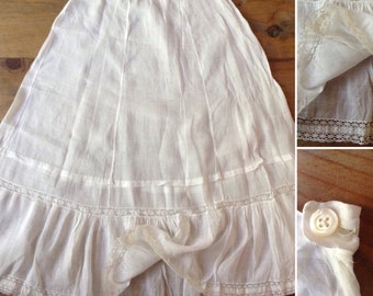 French VTG antique handmade white cotton embroidered petticoat skirt Vintage Edwardian Petticoat
