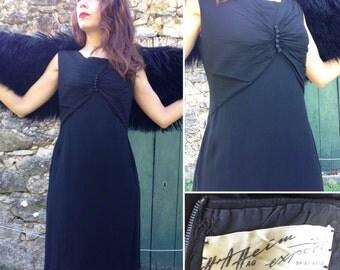 1960s HEIM French Vtg black silk pleated dress Sz S- M