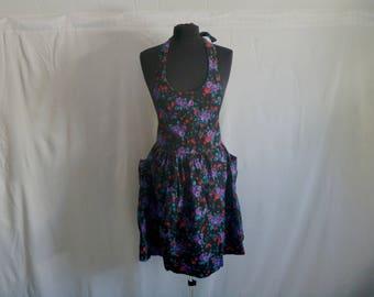 Vintage 90's Black Denim Neon Floral Halter Neck Onesie Overalls with Expanding Skirt by Genuine Blues® Size Medium