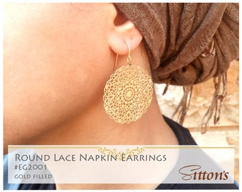 Round lace napkin earrings, gold filled, elegant earrings, free shipping