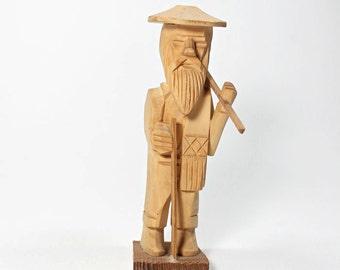 Vintage Primitive Wooden Figure, Old Woodcutter,