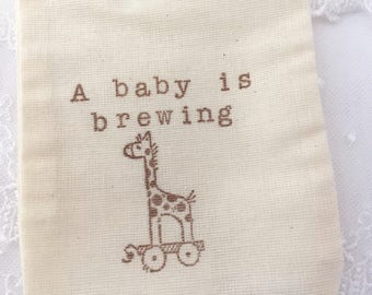 A Baby is Brewing Favor Bags Giraffe Tea Party Favor Bags Set of 10