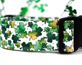 Shamrocks St. Patrick's Day Dog Collar - Extra Wide 1.5 Inch