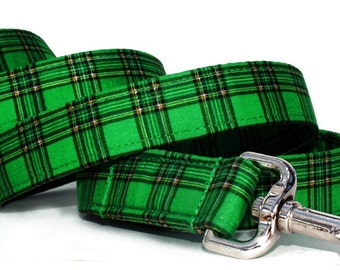 Green Plaid Dog Leash - Sullivan Plaid in Emerald Green