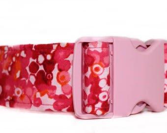 Pink Dog Collar, Extra Wide 1.5 Inch Dog Collar, Girl Dog Collar, Wide Dog Collar for Girl, Pink Hardware,  Pink and Orange Dog Collar