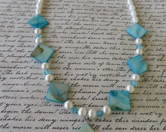 Blue Freshwater Shell Cultured Pearl And Crystal Necklace