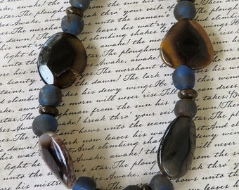 Agate African Sea Glass And Bronzite Beaded Necklace With Pendant