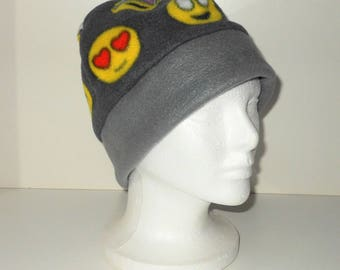 Emoji/Emoticon Print Adult Fleece Beanie Hat With Extra Warmth Band - Fathers Day Gift - Unique Gift - Gift For Him - Geekery Gift