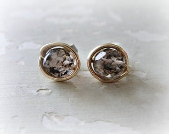 Speckled Stud Earrings, Faceted Stone Earrings, Natural Stone Studs, Quartz Studs, Faceted Quartz Posts, Gold Filled Studs, Gold Black White