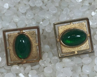 Vintage cuff links , gold and emerald  green,  square cuff links