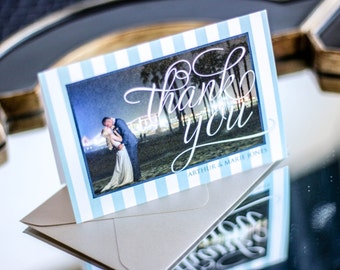 """Summer Wedding Stationery, Stripe Stationery, Picture Thank You, Blue and Tan - """"Starfish and Shell"""" Folded Photo Thank You Cards - DEPOSIT"""