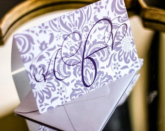"Lilac and Purple, Damask Stationery, Initial Stationery, Personalized Thank You - ""Dramatic Script"" Folded Personalized Stationery - DEPOSIT"