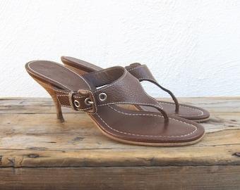 90s Prada Thong Kitten Heel Brown Leather Sandals Ladies Size 37
