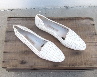 1990s Cole Haan White Woven LeatherLoafers Driving Shoes Ladies Size 9.5N