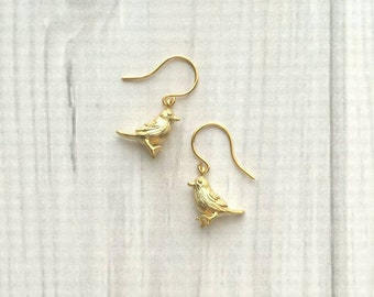 Baby Bird Earrings - tiny gold chickadee charms dangle from simple little hooks - spring Easter gift small chick sparrow minimalist fly free