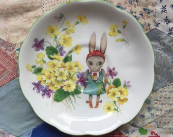 German Bunny with Yellow Floral Illustrated Vintage Plate