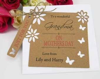 Mothers day Card Tag for Grandma, Nana, Moma Personalised