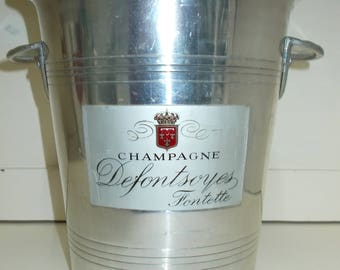 Vintage French Champagne Bucket by \\  CHAMPAGNE Defontsoyes Fontette //  Champagne Ice Bucket (6129s)