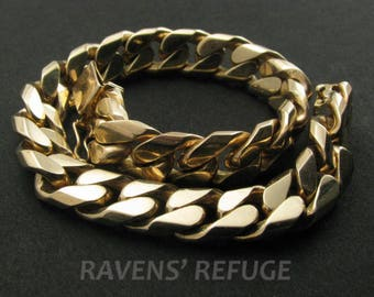 Heavy solid 14k yellow gold handmade curb-link bracelet