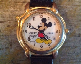 Vintage Disney Mickey Mouse Watch Lorus Leather Band Women's