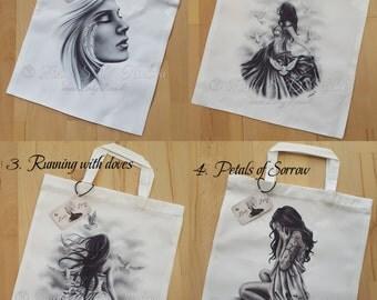 Girls Spiritual Emo Petals Rose Satin Dress Woman Feather Art Tote Bag Zindy