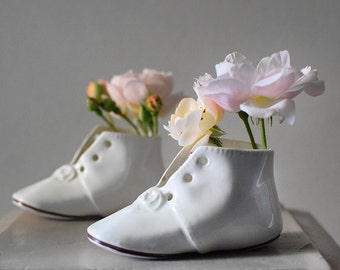 Vintage Baby Shoes White Porcelain Boots