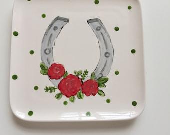 Kentucky Derby plate, Derby plate, equestrain plate, derby party plate, horse racing party, derby party, horseshoe plate, derby