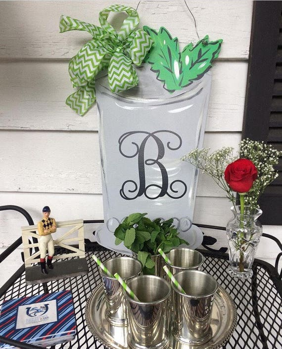 Mint julep, Derby Door Hanger, mint julep hanger, mint julep cup sign, derby sign, derby door hanger, personalized, mint julep cup