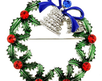 Christmas Bell Wreath Pin Brooch 1000132