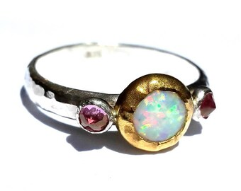 Opal Ring- 24k Solid Gold and Silver Ring- White Opal Pink Topaz Ring- Stackable Ring- Fire Opal Ring - Opal 24k Gold-Pink Topaz- Pink Ring.